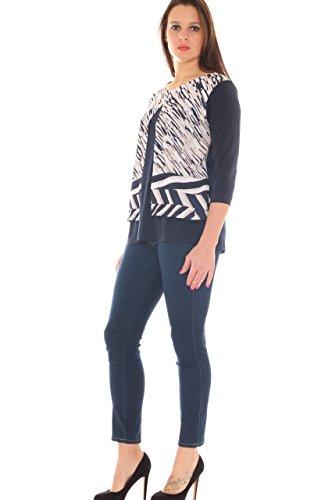 Jeans donna skinny in denim super stretch taglia morbida Blu scuro