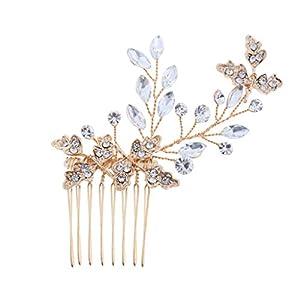 Brautkamm Haarkamm Haarnadeln Steckkamm mit Strass Blumen Design für Hochzeit Verlobung Bankett und Abschlussball