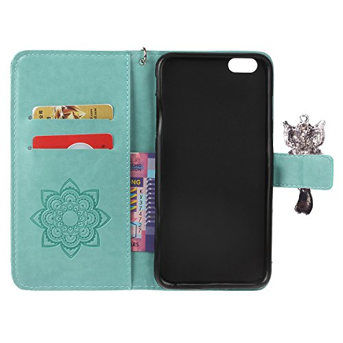 iphone 6 Plus (5.5 Zoll) Wallet Case für Apple iPhone 6 Plus Flip Hülle Laoke Eule Blumen Muster Handyhülle Schutzhülle PU Leder Case Skin Brieftasche Ledertasche Tasche im Bookstyle in +Staubstecker  2