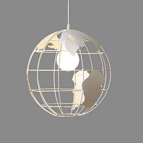 Globo Lampade a sospensione per sala da pranzo camera da letto Luce Industriale Edison Illuminazione a sospensione a sfera sferica Soffitto Retrò soffitta Ferro Creativo Lampadari Ø30CM 1×E27 (Bianco)