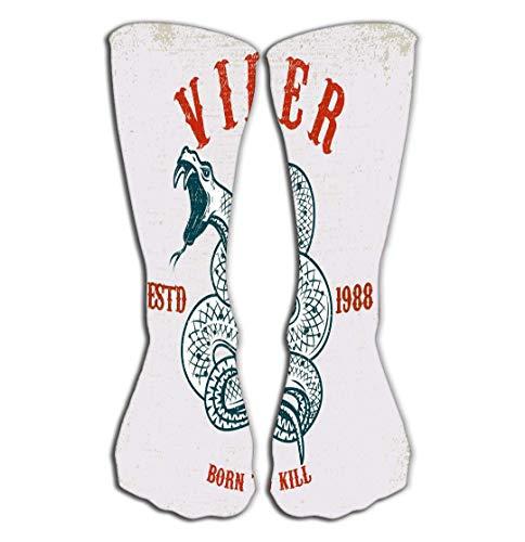 Xunulyn Hohe Socken Outdoor Sports Men Women High Socks Stocking Viper Snake Grunge Background Design Element Poster Card Viper Snake Tile Length 19.7