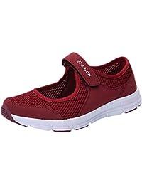 d97f93e470 LEvifun Zapatos de Mujer Color SóLido SeñOrita Superficie De La Red Velcro  Calzado Deportivo Ligero Y Casual Mujeres Zapatillas Deportivas…