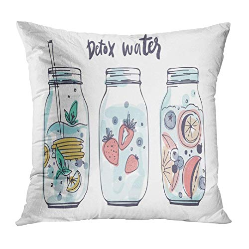 nnmaw Throw Pillow Cover Vintage Jar Detox Water Hand Drawn Cocktail with Fruits Green Mason Decorative Pillow Case Home Decor Square 18x18 Inches Pillowcase (Kuh Mason Jars)