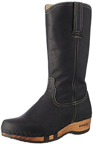 Woody Damen Texas Stiefel, Schwarz (Nero), 38 EU (Kalbsleder Western-stiefel)