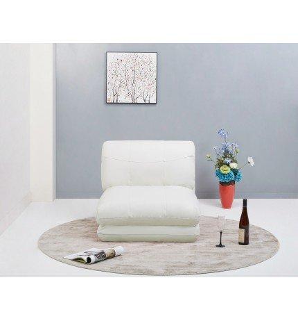 Puff cama en color blanco tapizado en piel textil.