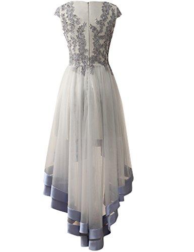 HUINI Applikationen High Low Tulle Prom Partei Kleider Korn Abend Formale Kleider Grau