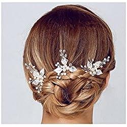 Damen Haarschmuck Accessoires Haarblumen Haargesteck Haarnadeln Perlen Hochzeit Strass Tiara Diadem Kristall WEISS Braut Design Schmuck