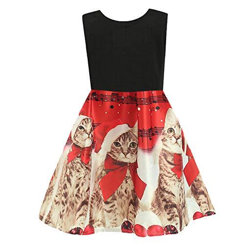 Riou Weihnachtskleid Mädchen Prinzessin Lang Ärmellos Weihnachten Kinder Baby Tutu Mini Elegant Ballkleider Abendkleid Elegant für Hochzeit Party Outfits Kleidung Set (150, Rot)