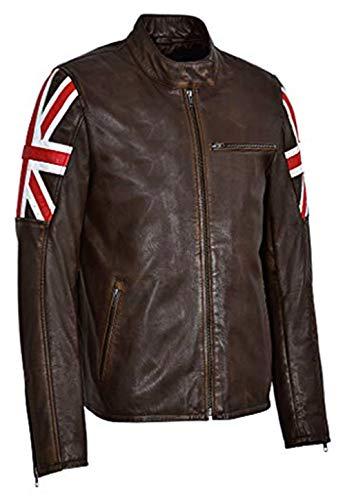 So Shway BRITISCHE Flagge Jacke Biker Vintage Motorrad Cafe Racer Retro Brown Schädel echte Lederjacke (XXXL) (Racer Jacke Herren)