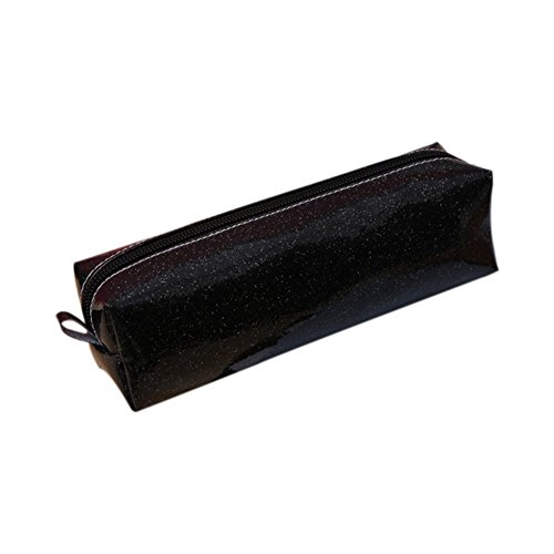 Gysad Glitter Pencil Case Rectangular Cosmetic bag Multicolor Estuches Escolares de Chicas size 20 * 6 * 6CM (Negro)