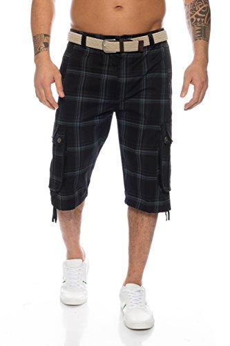 Cargo Plus Größe Shorts (Fashion Herren Shorts Dehnbund Bermuda Kurze Hose Stretch ID230 (6XL, Schwarz))