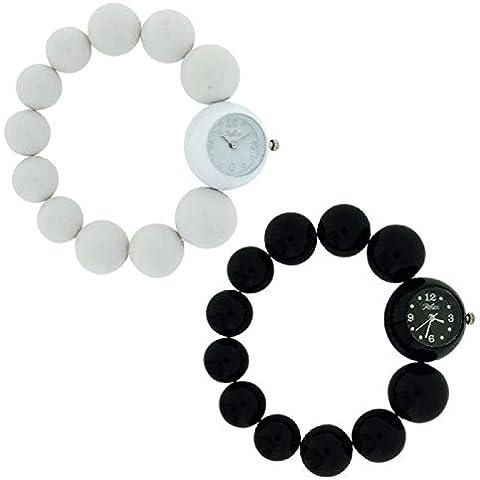 Reflex Donna Bianco e nero Grande Perline orologio regalo set di due bbr006