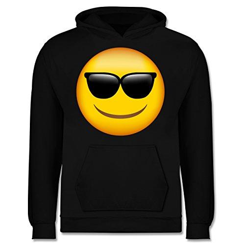 Shirtracer Anlässe Kinder - Emoji Sonnenbrille - 9-11 Jahre (140) - Schwarz - JH001K - Kinder Hoodie