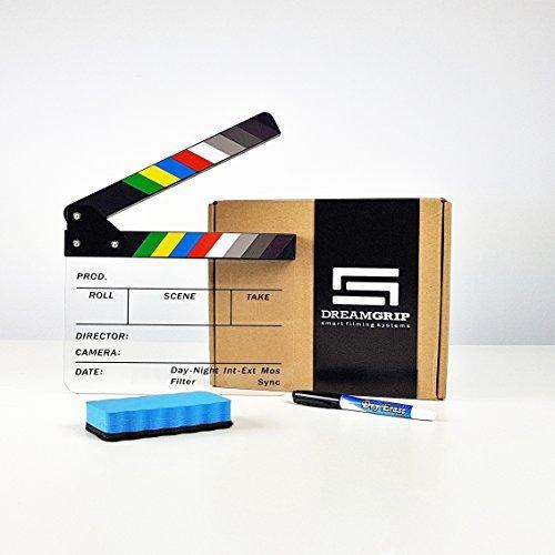 DREAMGRIP Original Acryl Kunststoff Dry Erase Director 's Film Klöppel Board 22,1x 18cm/22x 18cm Farbe Sticks mit Dry Erase Marker und Wischer