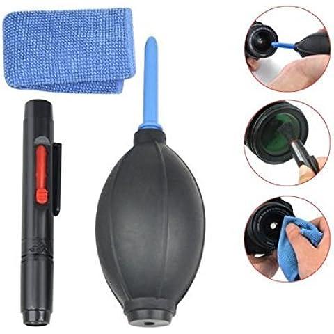 Kit di pulizia lenti 3in 1Professionale Per Fotocamera Digitale DSLR (Canon, Nikon, Pentax, Sony), tra cui Air Blower + pulizia spazzola + 2panno in microfibra