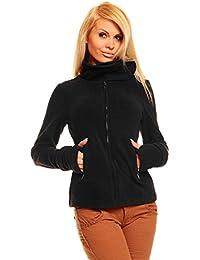 Sexy Fleece Jacke Pullover Sweatjacke S M L XL XXL Schwarz mit Kragen NEU Q073