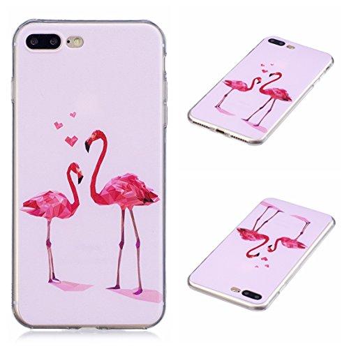 iPhone 7 Plus/iPhone 8 Plus 5.5 Hülle, Voguecase Silikon Schutzhülle / Case / Cover / Hülle / TPU Gel Skin Handyhülle Premium Kratzfest TPU Durchsichtige Schutzhülle für Apple iPhone 7 Plus/iPhone 8 P Flamingo 10