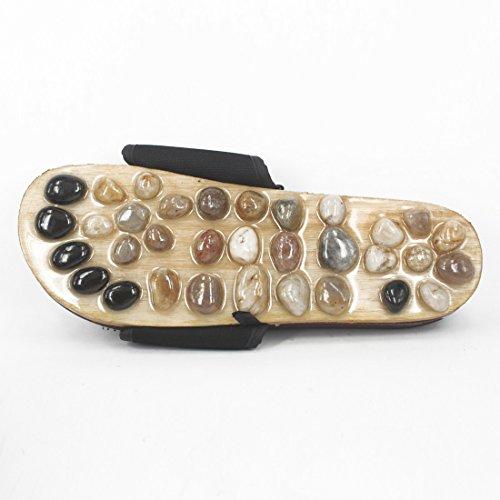 Andux Zone Scarpe di Pietra Naturali Massaggi / Massaggio del Piede Slipper Sandali - Riflessologia TX-01 nero