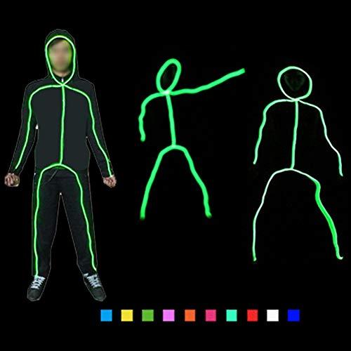 DHTW&R Kreativ Beleuchtet Strichmännchen Mann Glühende Kleidung EL Kaltlicht Fluoreszierender Tanz Kostüm Nachtshow Batteriebetrieben Maskerade Party Kostüm,Red,L