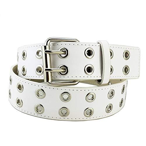 Ojal Ojal doble de piel PU punky de la correa unisex de la correa de cintura hueco remaches cinturón de doble diente hebilla del cinturón para los hombres las mujeres (blanco)