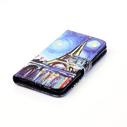 Coque pour Apple iPhone 6 Plus/6s Plus(5,5 Zoll),Housse en cuir pour Apple iPhone 6 Plus/6s Plus(5,5 Zoll),Ecoway Colorful imprimé étui en cuir PU Cuir Flip Magnétique Portefeuille Etui Housse de Prot peinture Tour