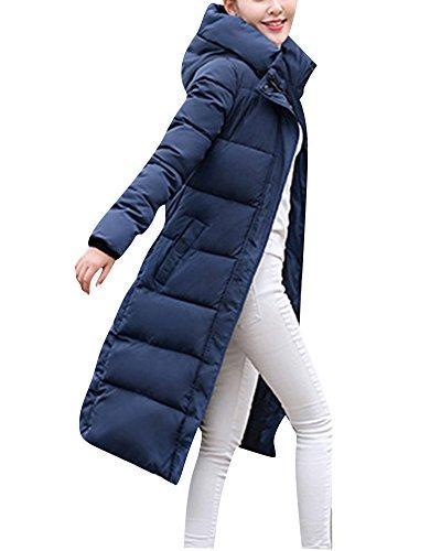 Damen Verlängerte warme Mäntel Druck Mode Daunenjacke Parka Windbreaker Blau XL