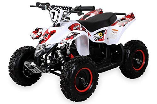 Actionbikes Motors Kinder Elektro Miniquad Fox XTR 1000 Watt 48 Volt - Gelochte Scheibenbremsen - 3 Geschwindigkeiten (Weiß Rot)