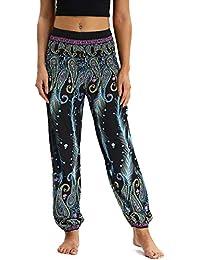 Nuofengkudu Mujer Pantalones Harem Tailandes Hippies Vintage Boho Flores  Verano Alta Cintura Elastica Casual Danza Yoga 01263454fca1