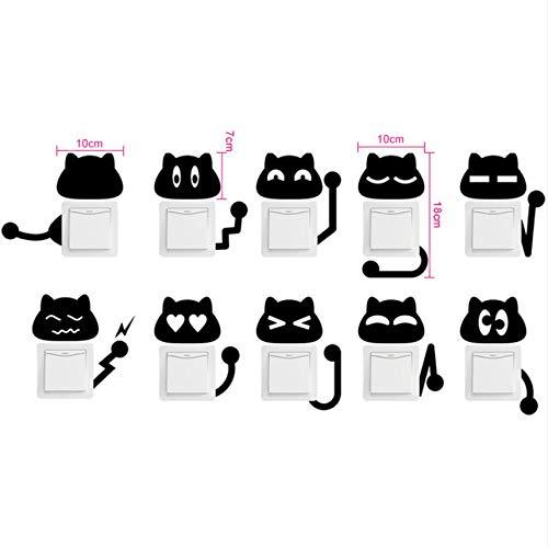 Cczxfcc Diy Schwarze Katze Gesicht Schalter Wandaufkleber Für Kinderzimmer Kindergarten Kinder Schlafzimmer Wandtattoos Tier Wandbilder Wohnkultur (Halloween Für Katze Diy Gesicht)