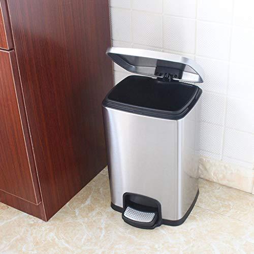 Haushalt Mülleimer Mit Abdeckung Edelstahl Pedal Flip Altpapierkorb 8 / 12L Rechteckige Küche Badezimmer Mülleimer (Farbe : Silber)