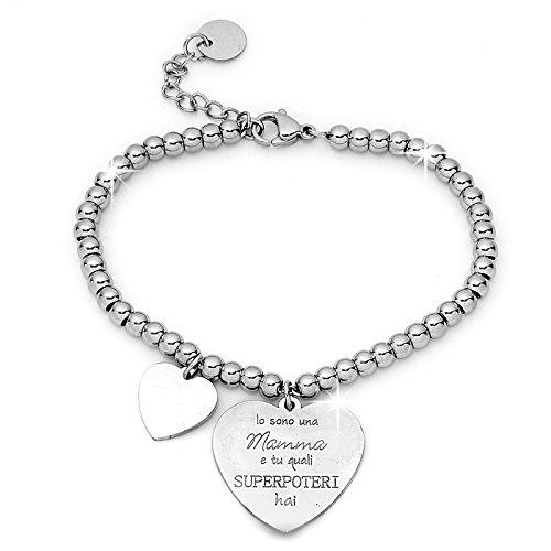 Beloved ❤️ bracciale da donna, braccialetto in acciaio emozionale - frasi, pensieri, parole con charms - ciondolo pendente - misura regolabile - incisione - argento mf10