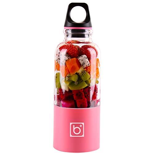 HWL Fruit Juicer Electric, 500 Ml 4-Blatt Tragbare Mixer Juicer Maschine Mixer Elektro-Mini USB-Küchenmaschine Entsafter Smoothie Blender Cup-Hersteller-Saft,Rosa