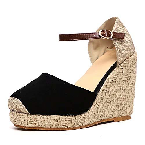 Sandalias Mujer Cuña, Verano Plataforma Punta Cerradas Bohemias Zapatos De Tacón Alto Alpargatas De...