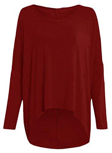 Damen Übergröße schulterfrei asymmetrisch Baggy High Low Tunika 8-22 Rot - Weinfarben
