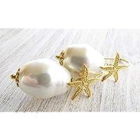 98c78e3a46ff Pendientes de perlas barrocas blancas y plata de ley 925 bañado en oro