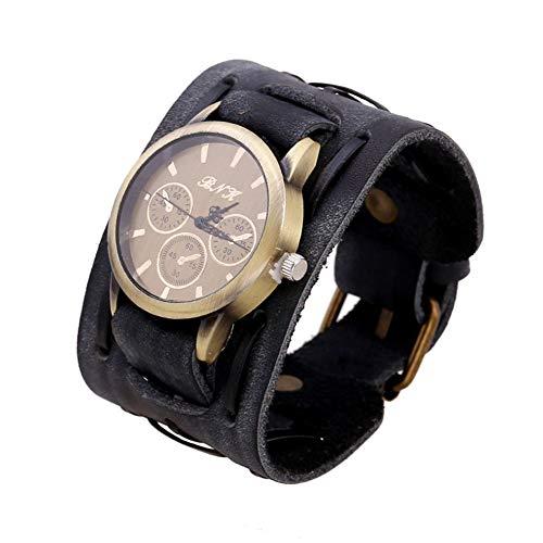 LPRWEC Mode-Accessoires Retro Echtes Leder Armband Tabelle Herrenuhr Einstellbare Persönlichkeit Rindsleder Armband,Black