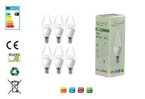 5 X Schneller Fett (Tech Traders 6x E14LED 5WATT KERZE Lampe Warm Weiß (2Jahre Garantie))