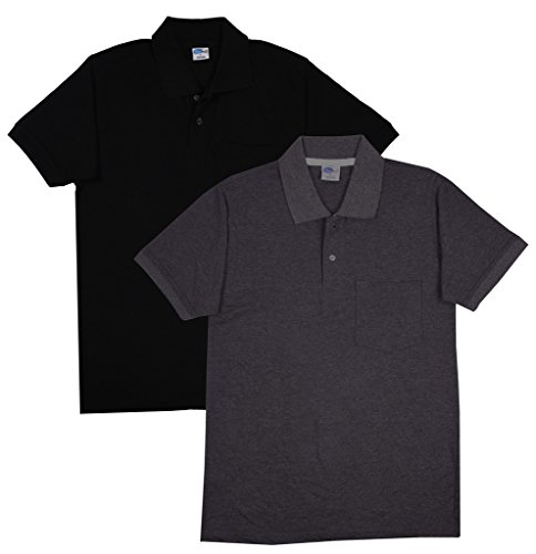 Fleximaa Men's Collar (POLO) T-Shirts With Pocket Combo Pack (Pack of 2) - Black & Charcoal Milange Color. Sizes : S-38, M-40, L-42, XL-44, XXL-46