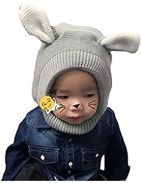 9896ac042fb Bigood Cagoule Enfant Tricot Bonnet avec Oreilles Cache Oreilles Calotte  Automne Hiver Mignon