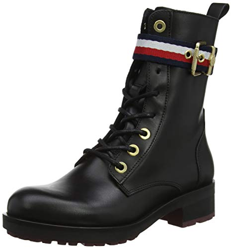 Tommy Hilfiger Damen Corporate Belt Biker Combat Boots, Schwarz (Black 990), 37 EU