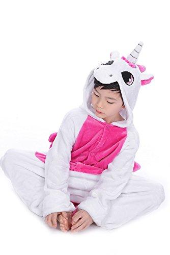 Imagen de tuopuda kigurumi pijama animal entero unisex para niños con capucha ropa de dormir traje de disfraz para festival de carnaval halloween navidad xl = 120  130 cm height, unicornio rosa  alternativa