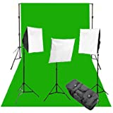 CowboyStudio Complete Photography and Video Stuido 2400 Watt Three Softbox Continuous Lighting Kit with 10 x 12-Feet Chromakey Green Muslin Background and Backdrop Support Stand