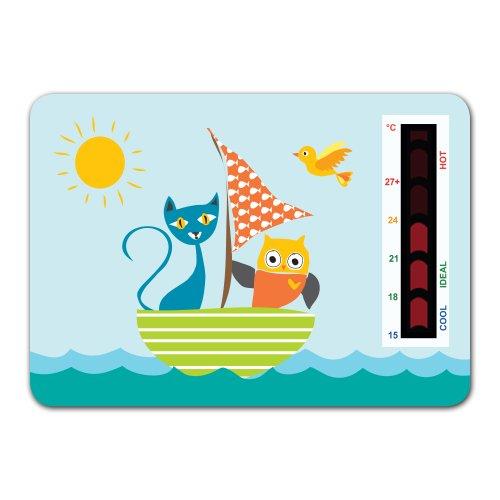 Raumthermometer zum Aufhängen, für Kinderzimmer, Katzen- und Eulenmotiv, mit neuartiger Temperaturanzeigen-Skala - Billig-digital-skala