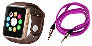 MIRZA Bluetooth A1 Smart Wrist Watch & AUX Cable for SONY xperia z3(AUX Cable & A1 Smart Watch Watch Phone with Camera & SIM Card Support Hot Fashion New Arrival Best Selling Premium Quality Lowest Price with Apps like Facebook,Whatsapp, Twitter, Sports, Health, Pedometer, Sedentary Remind,Compatible with Android iOS Mobile Tablet-Assorted Color)