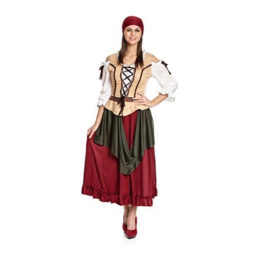 Kostümplanet® Mittelalter Kostüm Damen Deluxe Tavernen Magd Mittelalterliche Kostüme für Damen Größe (Größe Mittelalterlichen Kostüm 20)