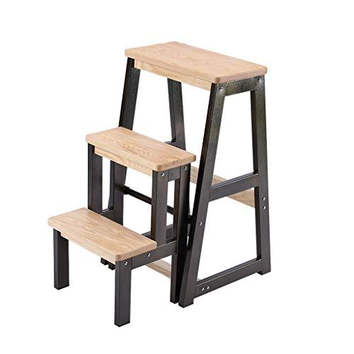 Su bai Escalera plegable Escalera de tres escalones Taburete Escalera de silla de hierro forjado multifuncional...