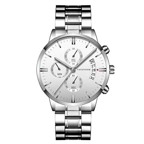 YEARNLY Herren Uhren Männer Militär Wasserdicht Sport Chronograph Schwarz Edelstahl Armbanduhr Design Business Datum Kalender Modisch Analog Quarzuhr