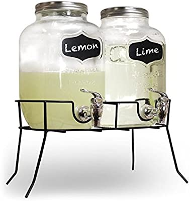 DISTRIBUIDOR DE BEBIDAS DOBLES 8L- VIDRIO MASON JAR HOME PARTY PICNIC BARBACOA DE JARDIN