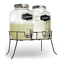 SHINE Distributeur de boissons en verre Mason Pot pour la maison, le pique-nique, le barbecue, les fêtes avec robinet et pot en métal avec support et bouteilles en verre de 4 l