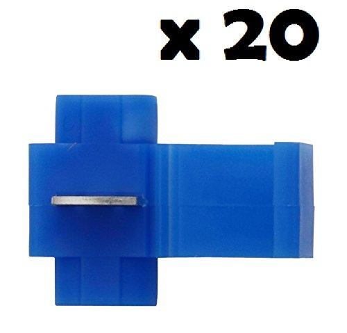 20x Cosse Electrique Connecteur Rapide Bleu - Raccords Auto-Dénudants (Dérivations) - Lot de 20 Cosses Electriques (Pour fils jusqu'à 1.1mm to 2.6mm²) - LIVRAISON GRATUITE!